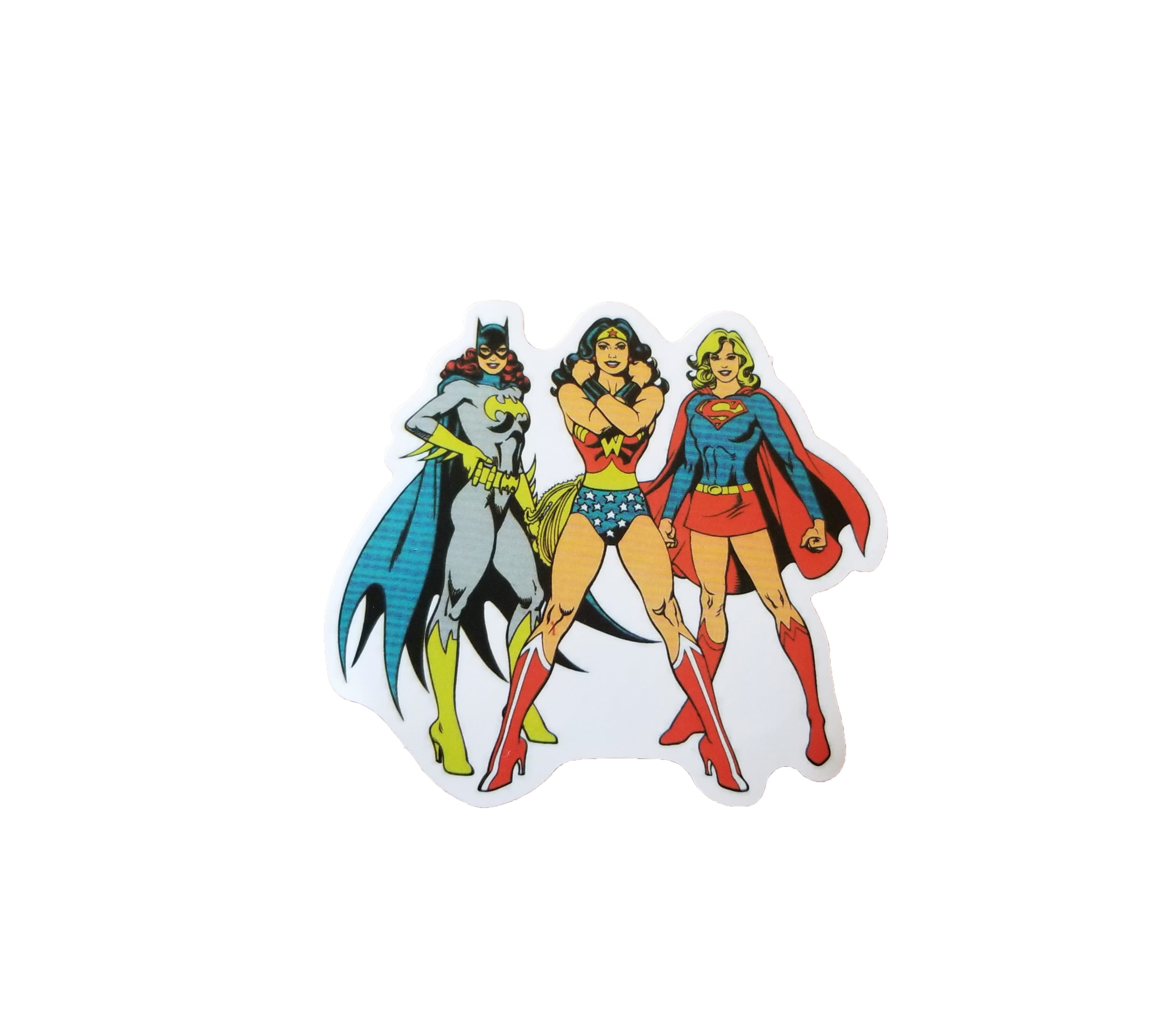 Batgirl, Wonder Woman, and Supergirl sticker