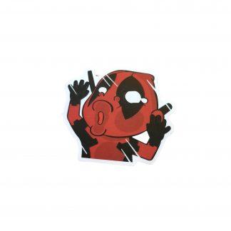 Cute Deadpool looks as if he just hit a window, Deadpool is making a kissy face on the window