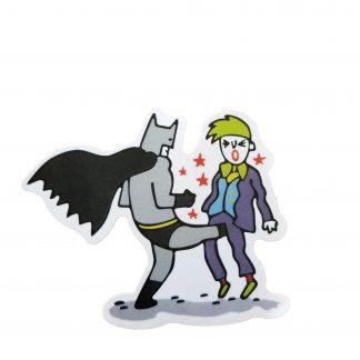 A cartoony sticker of a funny looking batman kicking joker in the testicles with stars surrounding the joker like he is in pain