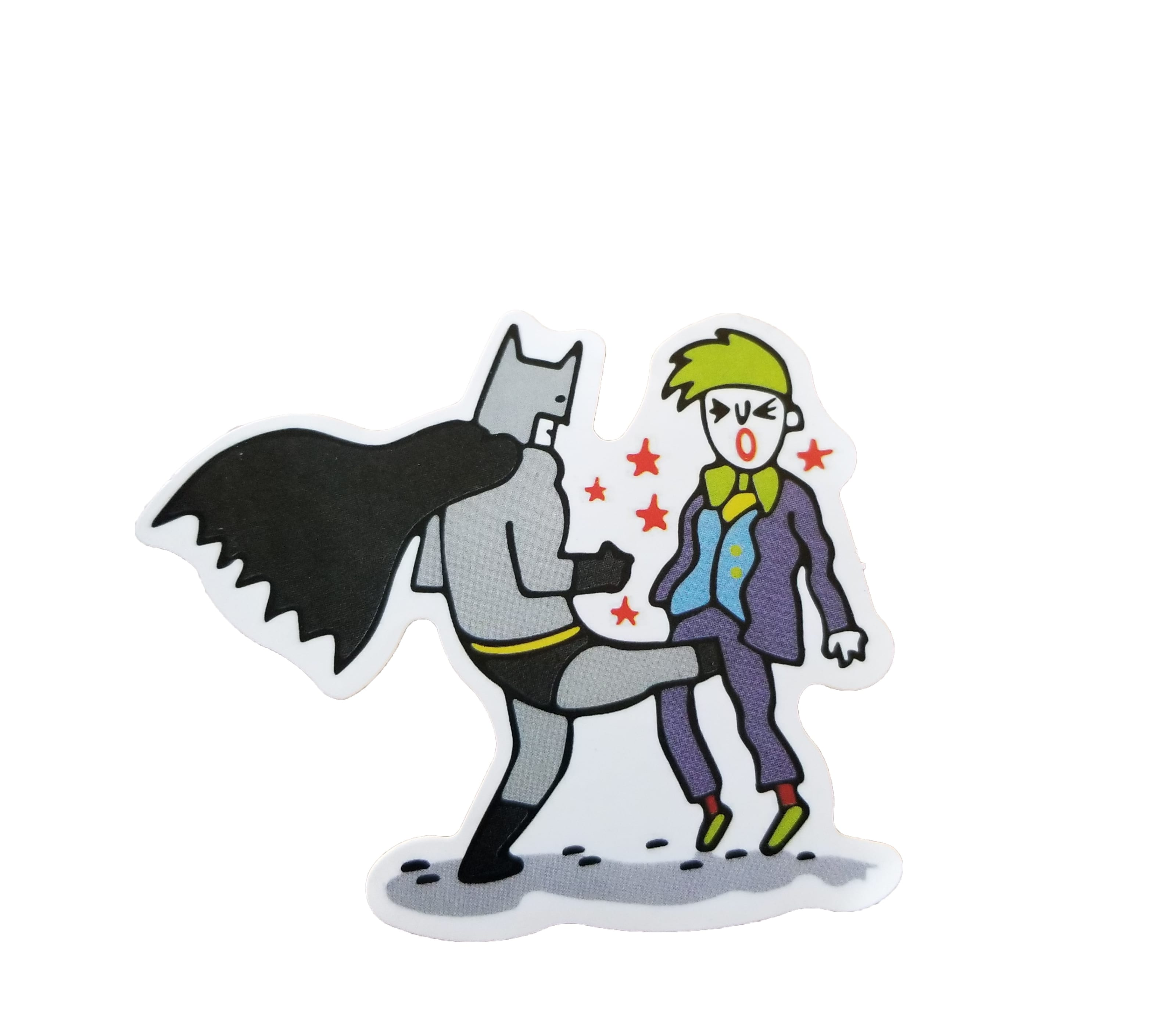 A cartoony sticker of a funny looking batman kicking joker in the testicles with stars surrounding