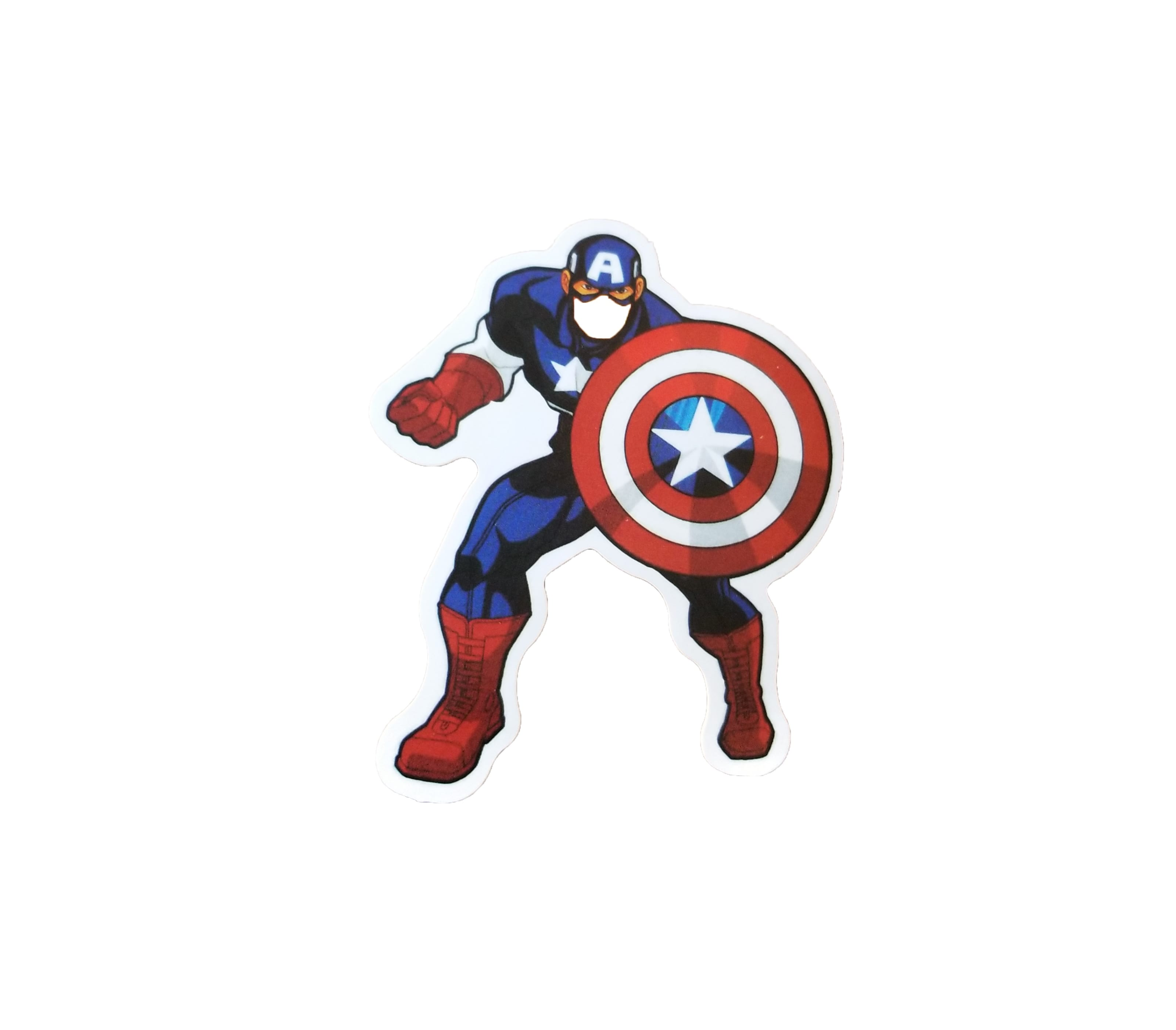 captain america holding his shield in defense mode