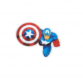 captain america read to attack. Has shield in one hand and fist in the other.