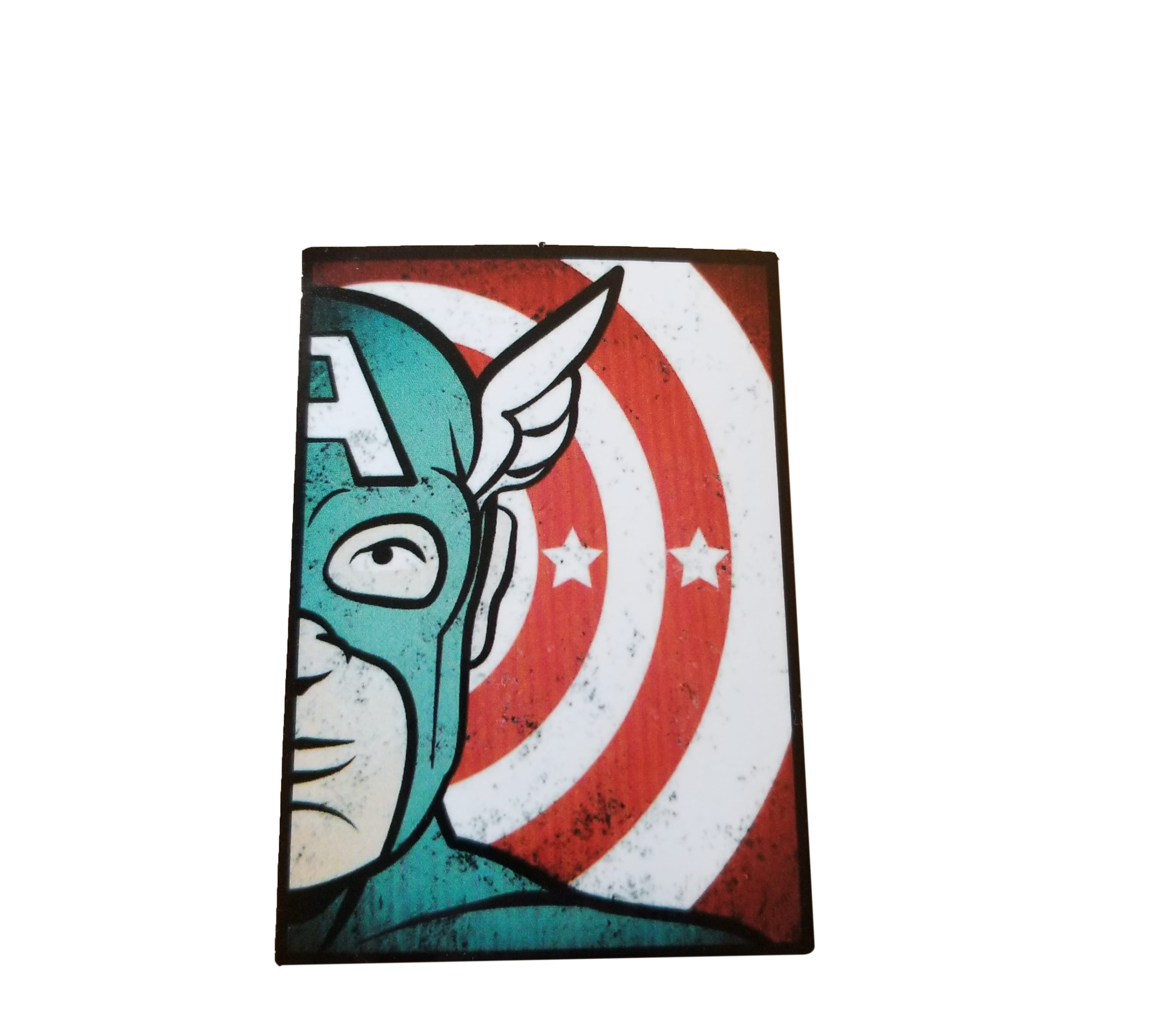 half of Captain america's face, with his shield in the background