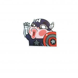cute captain America hits window, cartoony looking captain America sticker
