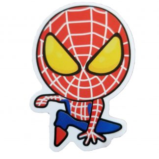 cartooney spiderman crouching down as if on top of something