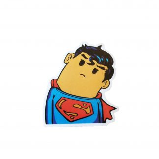 cute superman sticker looks like a cartooney version of the man of steel