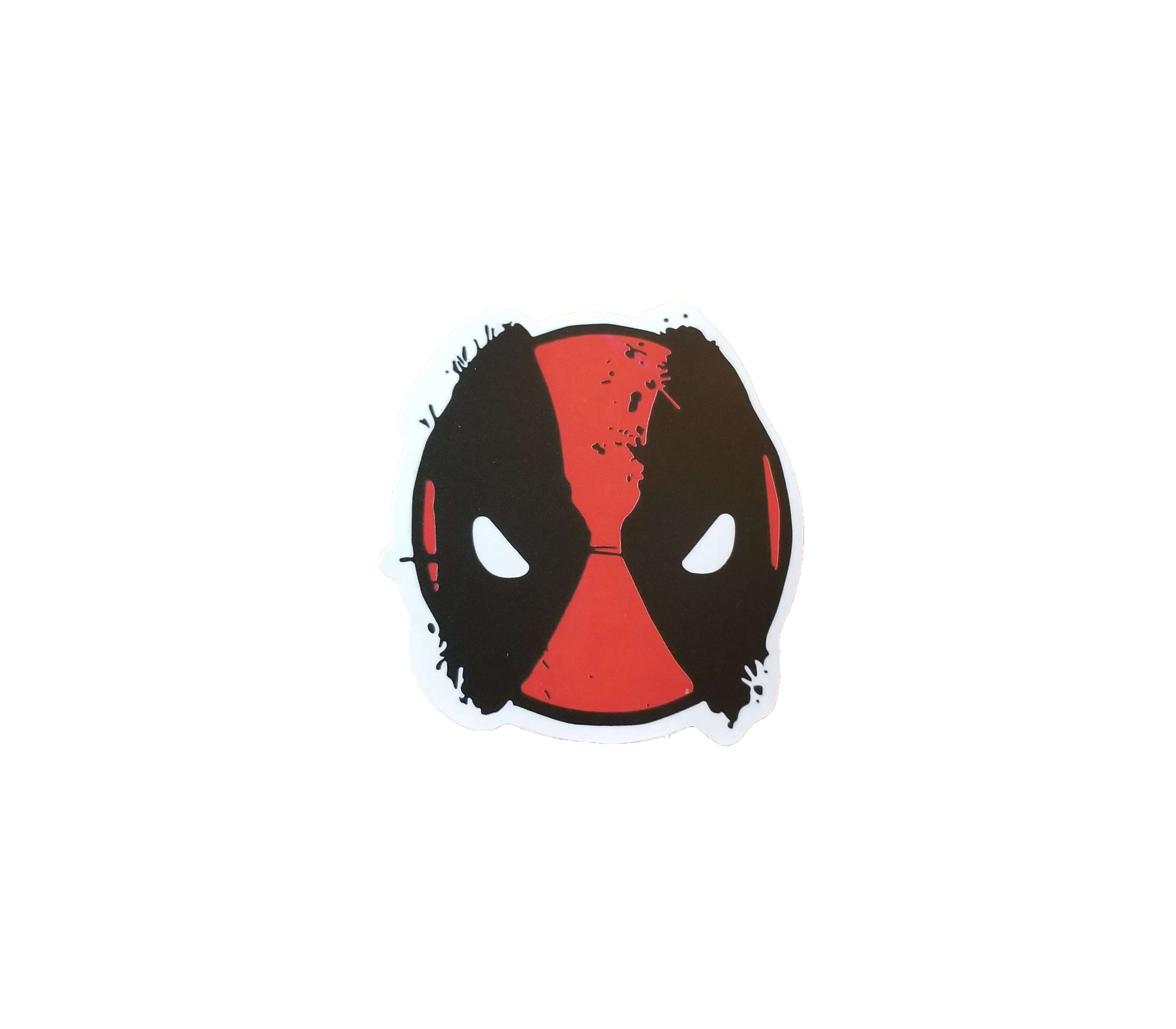 Cute but serious Deadpool Head sticker. Looks cartoonish but awesome.