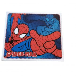 Rectangular Spiderman sticker with Spiderman aiming his shooting hand, blue background also has Spiderman blended into it with Spidey aiming in different position