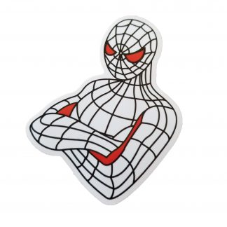White and red Spiderman, Spidey has red eyes and a bit of red on his folded arms. The rest of Spiderman's suit is white