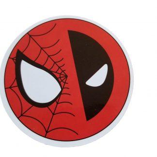 round spiderman-deadpool sticker, half face of spiderman, half face of deadpool