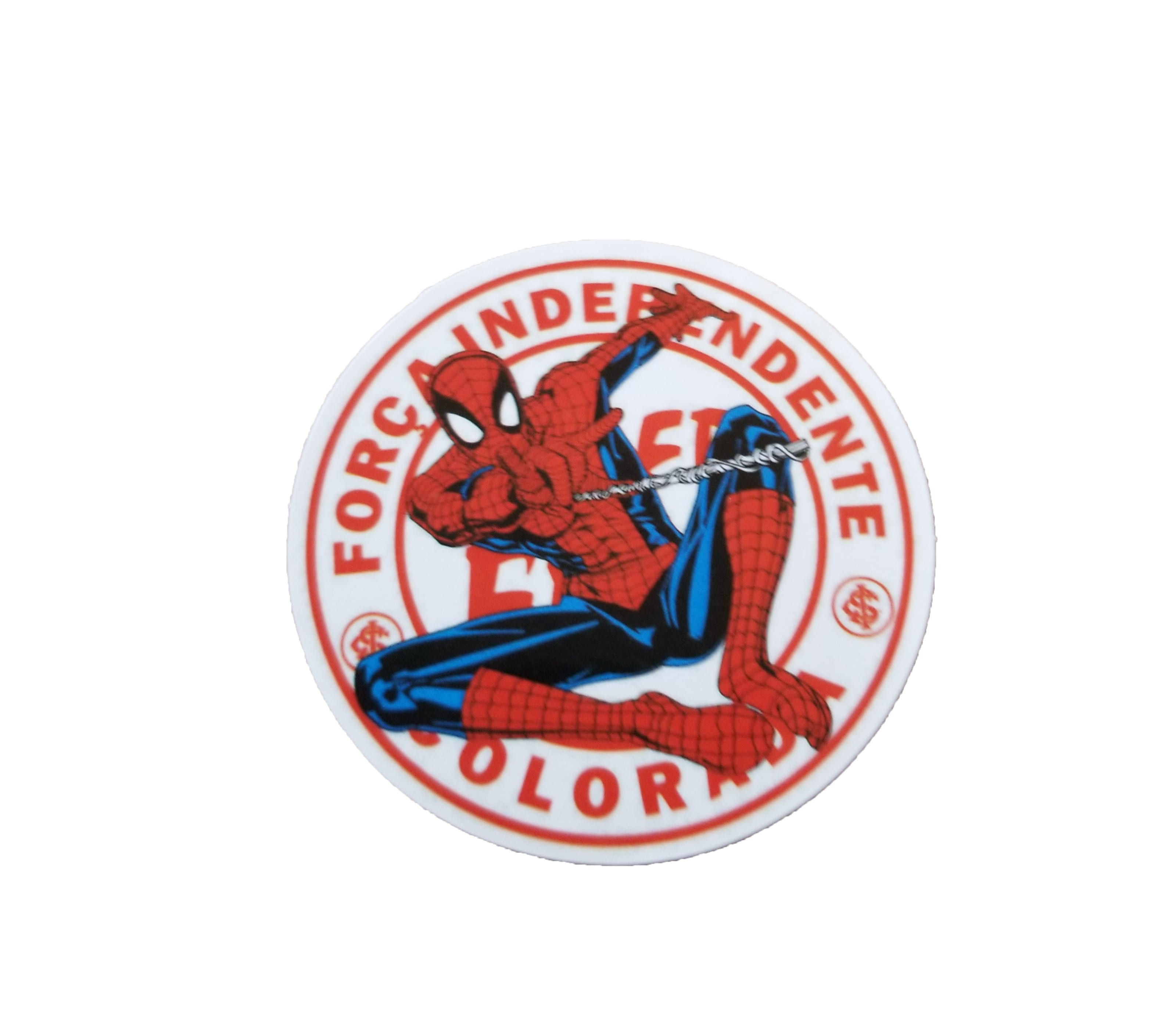 Round Força Independente Spiderman Sticker. White background with Força logo in red letters.