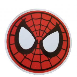Round Spiderman sticker. Spiderman's head. Spiderman eyes and round mask