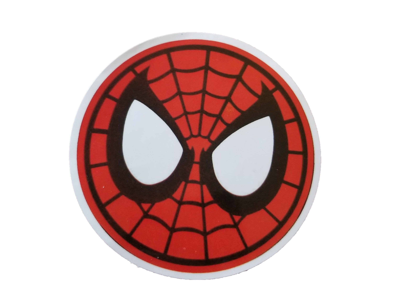 Round Spiderman sticker. Spiderman's head. Spiderman eyes and round mask